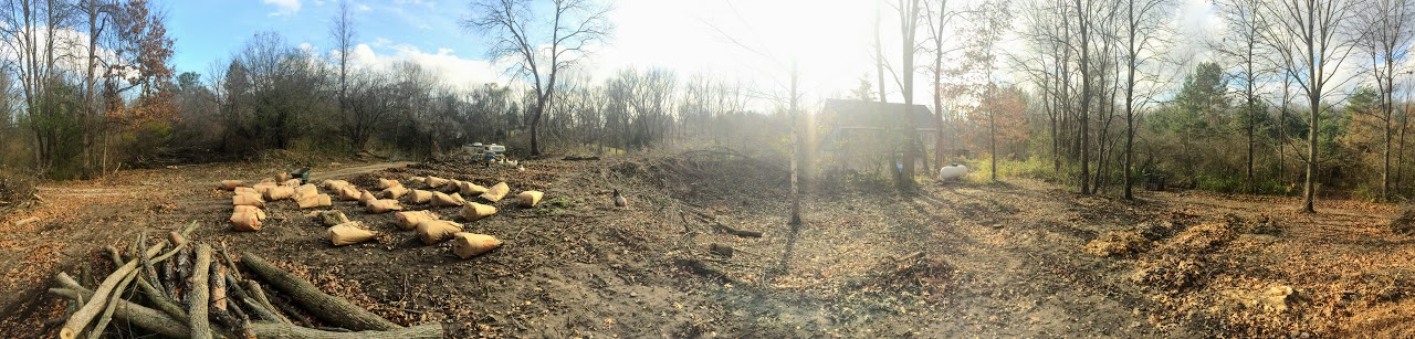 Panoramic view of the garden space getting prepped for spring. More detail to come in the next post.